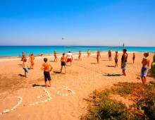 Beach in the hotel Aqua Dora Resort & Spa 4* (Tholos, Theologos, Rhodes, Greece)