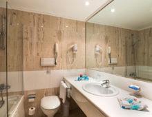 Double Room bathroom in the Amilia Mare 5* in Kalithea, Rhodes, Greece
