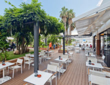 Open terrace in Aqua Hotel Aquamarina & Spa 4* in Santa Susanna, Costa del Maresme, Spain