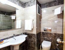 Bathroom in the room in hotel Eftalia Splash Resort 5* (Alanya, Turkey)